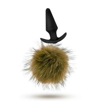 Pom Plugs Brown Fur Pom Pom Butt Plug
